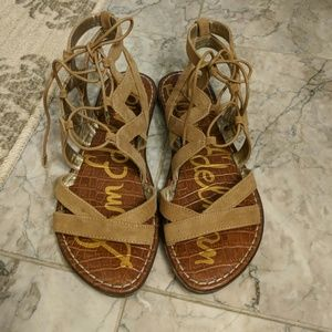 Sam edelman tan lace up sandal, size 5.5